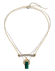 Fashion Gold Natural Stone Crystal Coin Avatar Multi-layer Metal Necklace