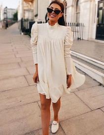 Fashion White Stand Collar Pleated Dress