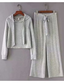 Fashion Gray Colorful Cotton Knit Hooded Suit