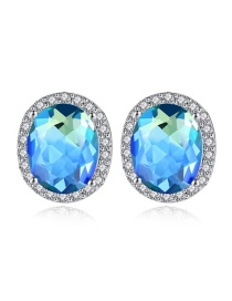 Fashion Blue Oval Copper Inlay Zircon Earrings