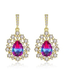Fashion Color Copper Inlay Zircon Earrings