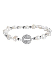Fashion White Beads Round Cross Pearl Adjustable Bracelet