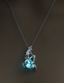 Fashion Blue Green Openable Mermaid Luminous Necklace