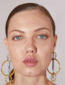 Fashion Gold Alloy Diamond Circle Tassel Earrings