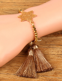 Fashion Gold Fringed Crystal Woven Five-pointed Star Bracelet