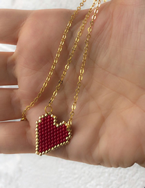 Fashion Red Stainless Steel Love Heart Bracelet Necklace Set