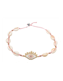 Fashion Pink Woven Shell Eye Necklace