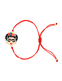 Fashion Color Cartoon Version Closed Eyes Small Head Beaded Woven Bracelet