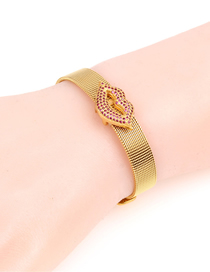 Fashion Gold Copper Plated Micro-inlaid Lips Stainless Steel Mesh Strap Bracelet