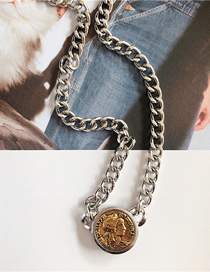 Fashion Silver Coin Head Necklace