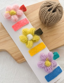 Fashion Light Color (set Of 3 Pairs) Wool Flower Duckbill Clip Set