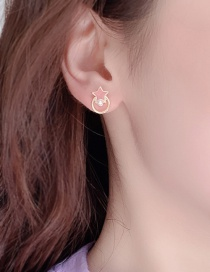 Fashion Pink Alloy Drop Oil Pearl Stud Earrings