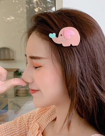 Fashion Light Pink Elephant Cartoon Baby Hairpin