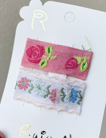 Fashion White Pink Printed Embroidery Hair Clip