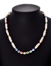 Fashion Color Resin Beaded Pearl Letter Necklace
