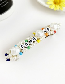 Fashion Color Alloy Pearl Wood Beaded Letter Hairpin