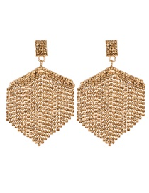 Fashion Champagne Alloy-encrusted Fan-shaped Tassel Earrings