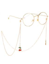 Fashion Gold Non-slip Metal Red Cherry Glasses Chain