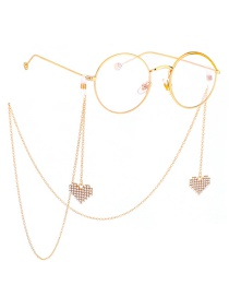 Fashion Gold Non-slip Metal Heart Rhinestone Glasses Chain