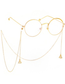 Fashion Gold Non-slip Metal Triangle Zircon Glasses Chain