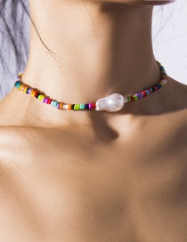 Fashion Color Rice Bead Shaped Pearl Single Layer Necklace