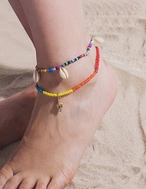 Fashion Color Conch Stretch Color Rice Beads Shell Anklet