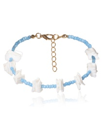 Fashion Blue Square Beaded Shells: Beads: Regular Geometric Anklets