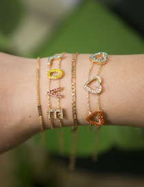 Fashion Four-piece Gold Multi-layer Chain Heart-shaped Letters Love Diamond Bracelet