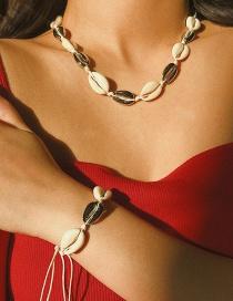 Fashion Bracelet White K Alloy + Natural Shell Geometric Adjustable Shell Necklace