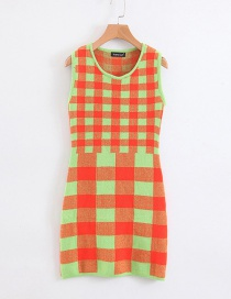 Fashion Green Plaid Knit Dress