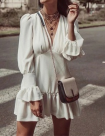 Fashion White Ruffled V-neck Dress
