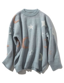 Fashion Blue Star Moon Pullover