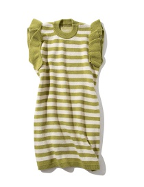 Fashion Green Striped Wooden Ear Knit Dress