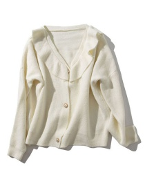 Fashion White Solid Color Pearl Buckle Knit Cardigan