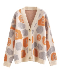 Fashion Orange Letter Printed Knit Cardigan