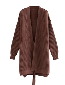 Fashion Brown Hem Streamer Sweater