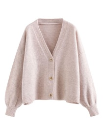 Fashion Light Pink Button Variegated Cardigan