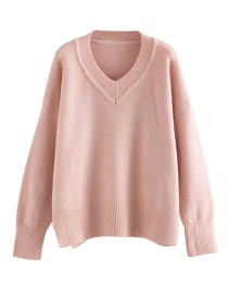 Fashion Purple V-neck Solid Color Pullover