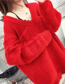 Fashion Red V-neck Towel Embroidered Knit Sweater