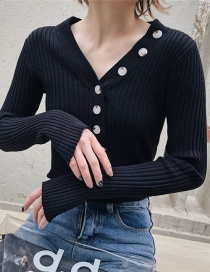 Fashion Black Multi-button Bottoming Shirt