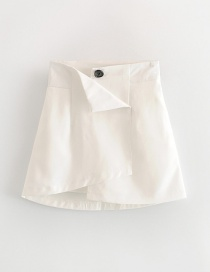 Fashion White Irregular A Word Skirt