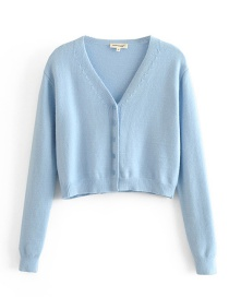 Fashion Blue Short Knit Cardigan