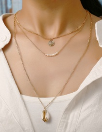 Fashion Gold Gold Plated Side Shell Pearl 3 Layer Necklace