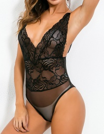 Fashion Black Net Yarn Strip Stitching Solid Color Sling Sexy Jumpsuit