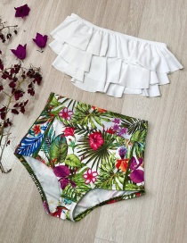 Fashion White Green Trousers High Waist Multi-layer Ruffled Printed Bikini