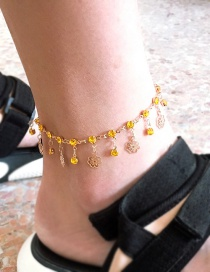 Fashion Gold Alloy Diamond-studded Openwork Flower Tassel Anklet