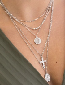 Fashion Silver Alloy Geometry Round Cross Multilayer Necklace