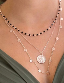 Fashion Gold Alloy Geometry Disc Head Beads Multilayer Necklace