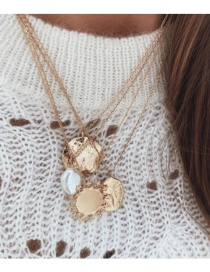 Fashion Gold Alloy Geometry Round Pearl Multi-layer Necklace