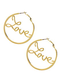 Fashion Gold Alloy Circle Letter Love Earrings
